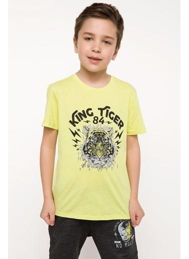 DeFacto Kaplan Baskılı T-shirt Sarı